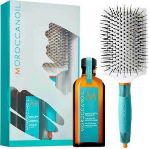 Morocannoil Great Hair Day Set (Oil Treatment 100ml, Ceramic Paddle Brush)