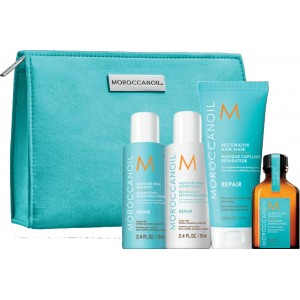 Moroccanoil Travel Kit Repair On The Go (Moisture Repair Shampoo 70 ml , Moisture Repair Conditioner 70 ml ,Moroccanoil Restorative Hair Mask 75ml, Moroccanoil Treatment 25 ml)