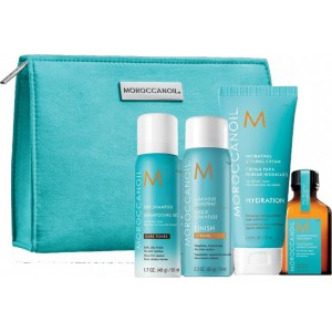 Moroccanoil Travel Kit Style On The Go – Dark tones Shampoo 62 ml & Luminous Hair Spray 70 ml & Hydrating Styling Cream 75m & Moroccanoil Treatment 25 ml